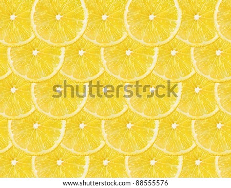 Slices of fresh lemon . Lemons fruit background