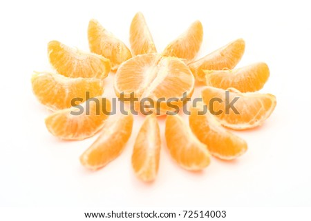 Slices of fresh orange representing sun with beams isolated on white