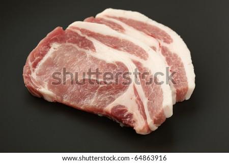 Sliced Pork Slices of Fresh Raw Pork Loin