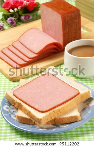 Slices of ham on the plate