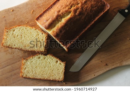 Slices of home baked vanilla cake. It is also called yellow cake or butter cake or tea cake.