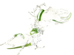 Slices of juicy aloe with fresh water splashes on white background