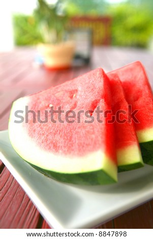 Slices of juicy watermelon served on white plate.