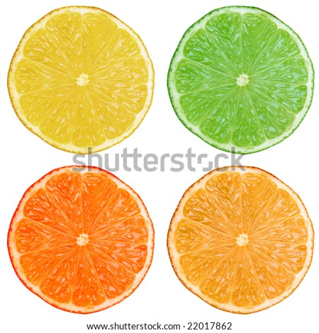 Slices of lemon lime orange citrus fruit isolated on white