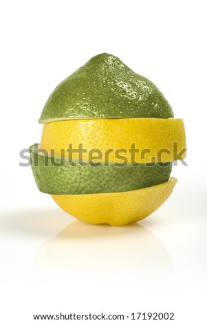 Slices of lemons and limes - stock photo
