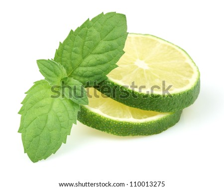 Slices of lime with mint