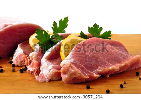 Slices of loin with citron and spices and parslay