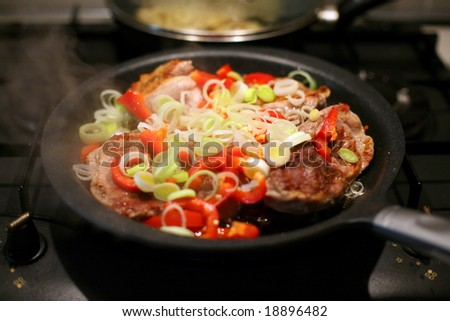 Slices of meat fried with vegetables