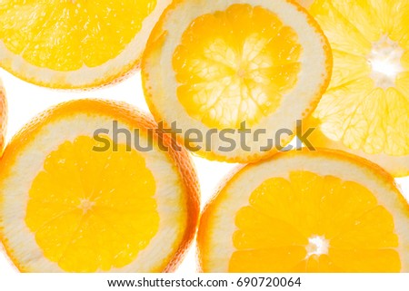 slices of orange background, view in backlight #690720064