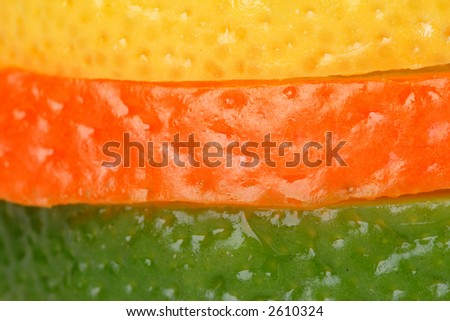Slices of orange, lemon, lime