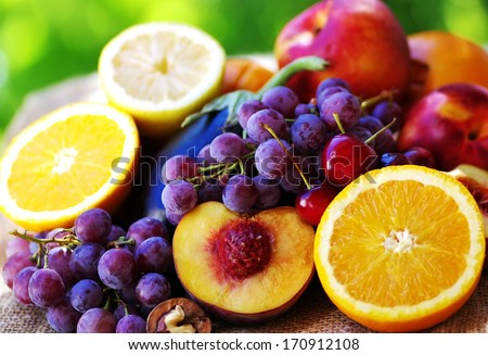Slices of peach, grapes and citrus fruits #170912108