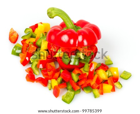 Slices of pepper on a white background