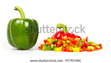 Slices of pepper on a white background - stock photo