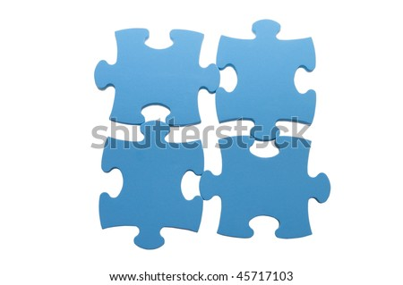 Slices of puzzle, isolated on white background