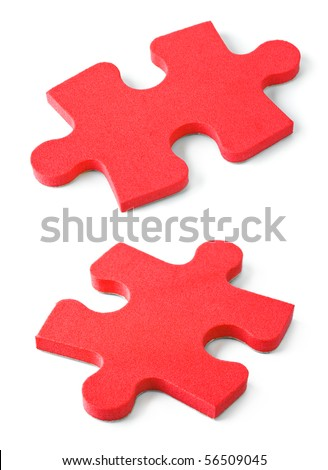 Slices of puzzle isolated on white background