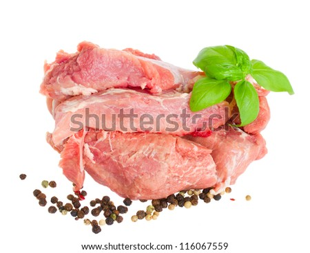slices of raw pork  meat isolated on white background