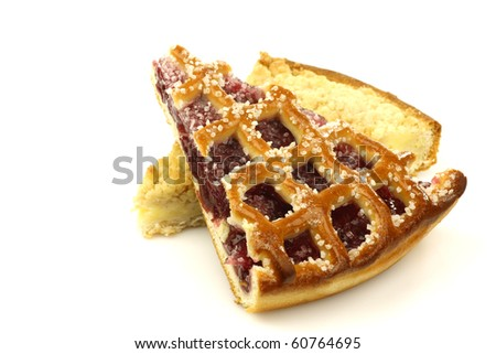 slices of rice and cream and cherry pie (vlaai) on a white background