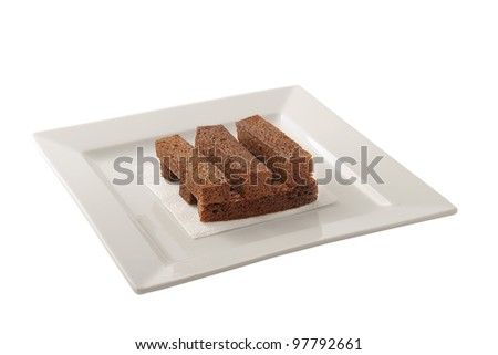 Slices of rye bread with garlic. Isolated on a White Background