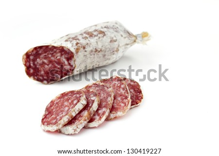 slices of salami isolated on white background