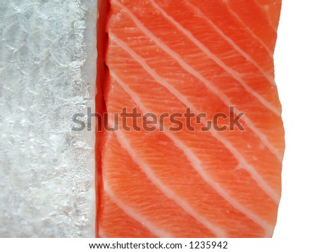 Slices of salmon filet as a close-up