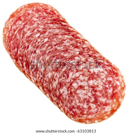 slices of Smoked Sausage isolated on white