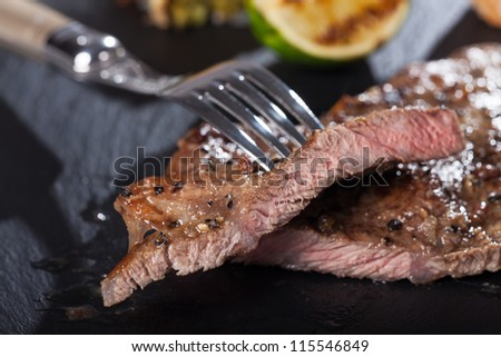 slices of steak with a fork