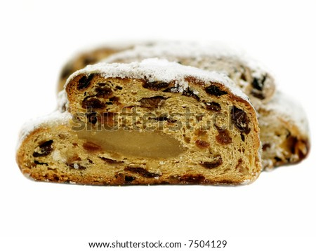 Slices of stollen isolated on white