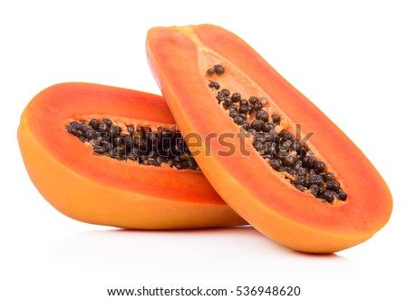 slices of sweet papaya on white background Stockfoto ©