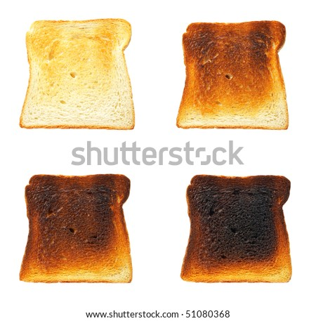 Slices of toast bread before and after, isolated on white background