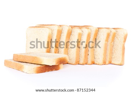 slices of toast bread, isolated on white background