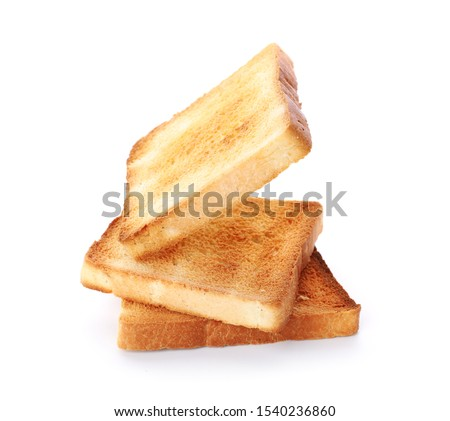 Slices of toasted bread isolated on white ストックフォト ©