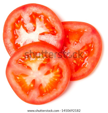 Slices of tomato isolated on white background. Top view, flat lay. #1450692182