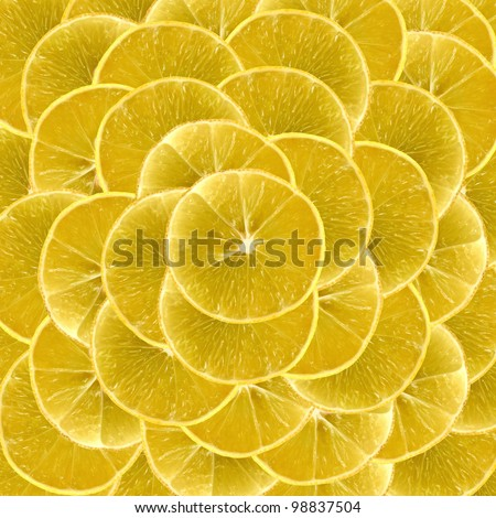 Slices of vibrant lemon arranged one above another and can be used as backgrounds