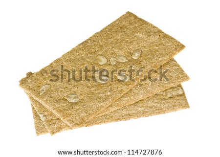 Slices of wholemeal bread completely isolated on white background