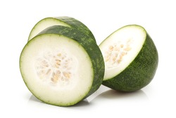 Slices of Winter melon on white background