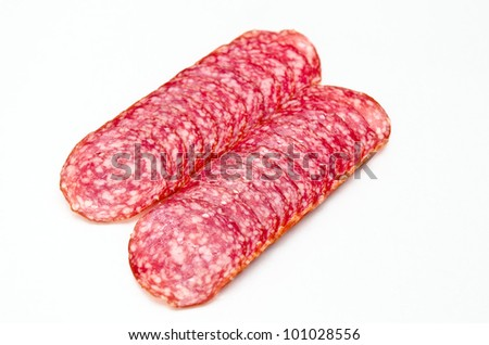 slices salami isolated on a white background