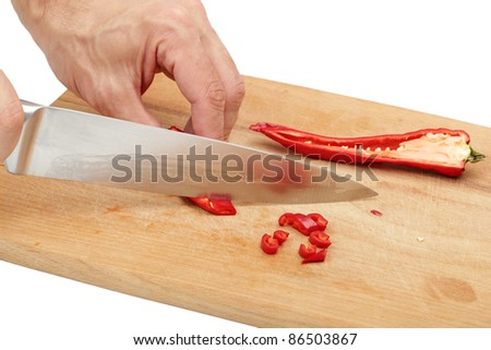 Slicing Red chili pepper