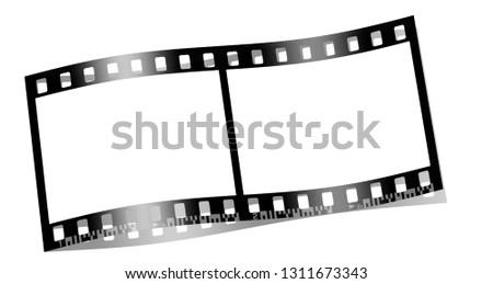 Slide film on white background,3d Illustration