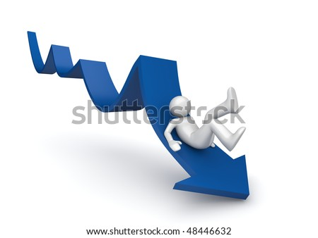 Sliding from a blue arrow of breakdown (3d isolated characters on white background, business and finance series)
