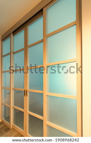 sliding glassed doors at sunny day Foto stock ©