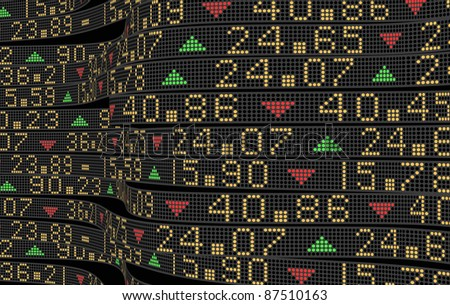 Sliding stock market tickers on trading boards - stock photo