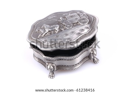 Slightly open silver jewelry box