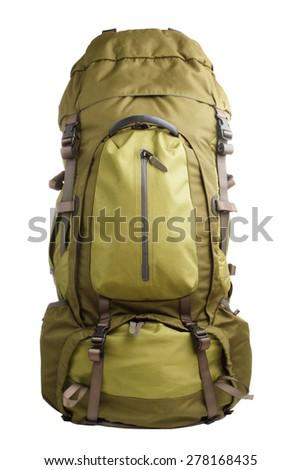 Slightly used large green touristic backpack isolated on white background