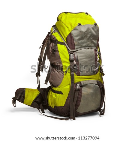 Slightly used tourist backpack isolated on white. Isolation path included