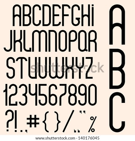 Slim black font, numbers and punctuation marks.  Raster version