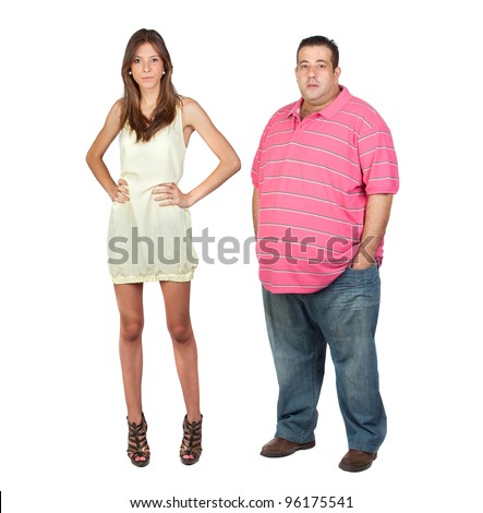 Slim girl and fat man isolated on a over white background