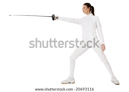 Slim girl in fencing costume with sword in hand over white background