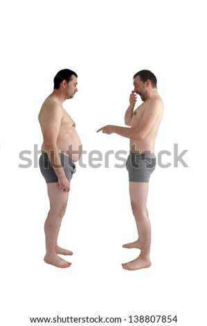 slim man laughs at his fat self - stock photo