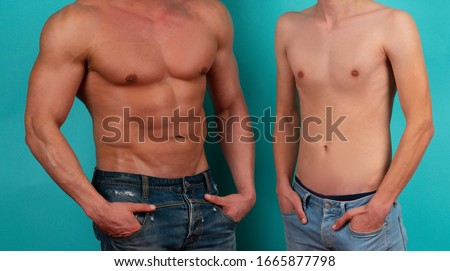 Slim man. Slim and muscular as a result of diet or training. Man body before and after weight loss. Training and diet. Mass gain Сток-фото ©