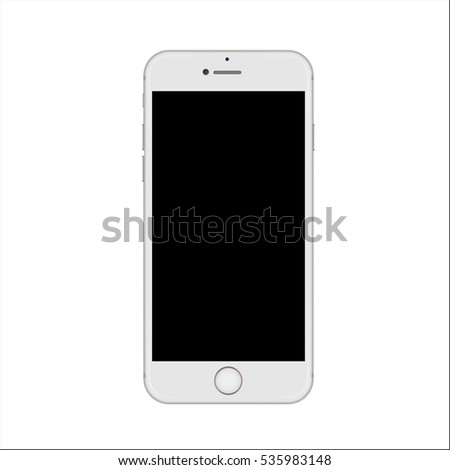 Slim smartphone with blank black screen isolated